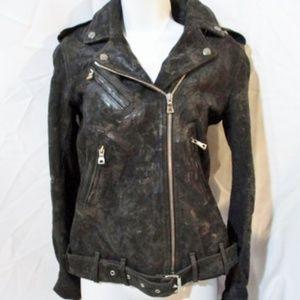 New BALMAIN PARIS SUEDE Moto Riding jacket coat